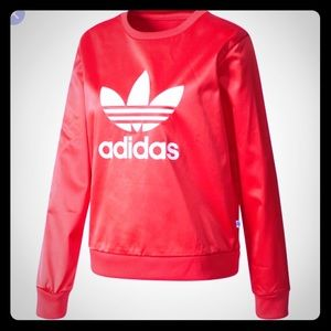 Red satin Adidas sweatshirt